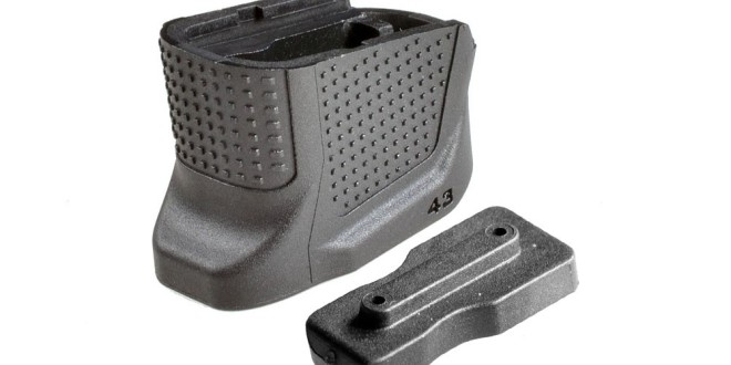 Strike Industries SI Enhanced Magazine (Base) Plate (EMP) for Glock 43 (G43) Slim-Line Single-Stack 9mm and Glock 42 (G42) .380 Sub-Compact Concealed-Carry/Tactical Pistol Models: Plus-2-Round Ammo Capacity Advantage with More Gripping Surface and Better Ergonomics!