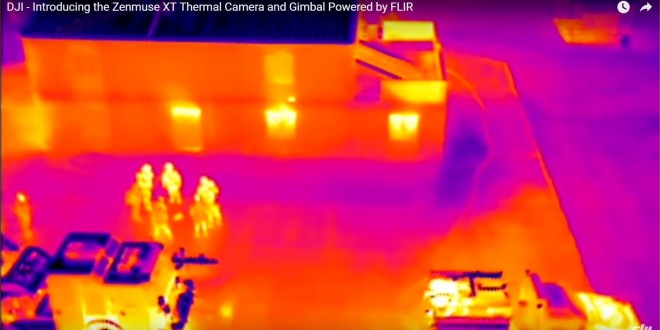 FLIR Systems/DJI Zenmuse XT Stabilized and Gimbaled Thermal/IR (Infrared) Camera Going on DJI Inspire 1 and Matrice M100 Quadcopter/Quadrotor Mini-UAS/UAV/Drone Aircraft Platforms for Security and Surveillance Operations: Sees Through Smoke and Fog!